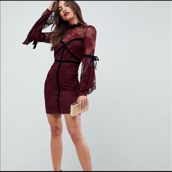 dc082a2e90a NWT ASOS Burgundy lace w black velvet detail Dress